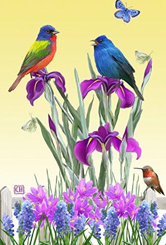 (Toland Home Garden Birds n Butterflies 12.5 x 18 Inch Decorative Spring Summer Flower Bird Butterfly Garden Flag)
