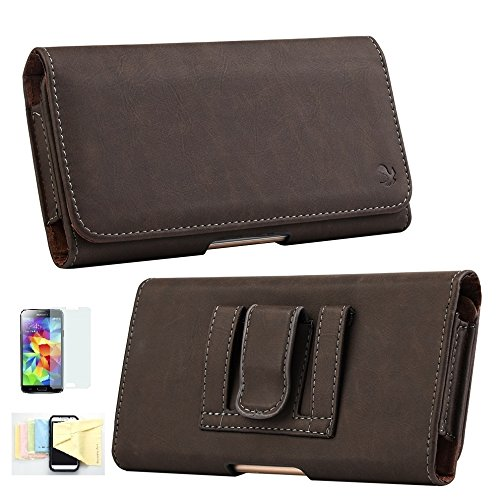 iPhone 6 Belt Clip Case Holster, Premium Leather Case with Clip Loops For iPhone 6 (4.7 Inch) Momiji Cleaning Cloth and Diamond Stylus (Brown)
