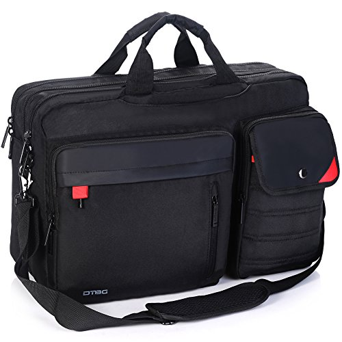 DTBG Nylon Versatile Convertile Spacious Business Casual Travel Laptop Menssenger Briefcase Computer Shoulder Hiking Bag Backpack Daypack For 15.6 - 17.3 Inch Laptop / Notebook/MacBook/Tablet,Black