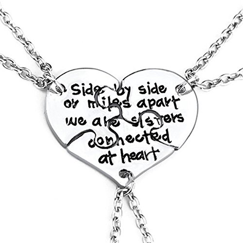 SIVITE 3 Pcs Best Friends Forever Engraved Necklace Broken Heart Charm Pendant Set BFF Friendship Necklace
