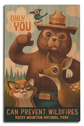 Lantern Press Rocky Mountain National Park, Colorado - Smokey Bear (10x15 Wood Wall Sign, Wall Decor Ready to Hang)]()