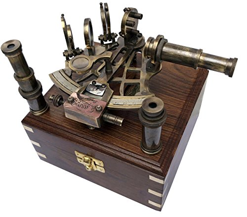 Brass Nautical Sextant J Scott London Vintage Antique Astrolabe ship navigation instrument Celestial & Nautical Sextant with Two Extra Sighting Telescope/Astrolable Sextant Tool with Wooden Box -
