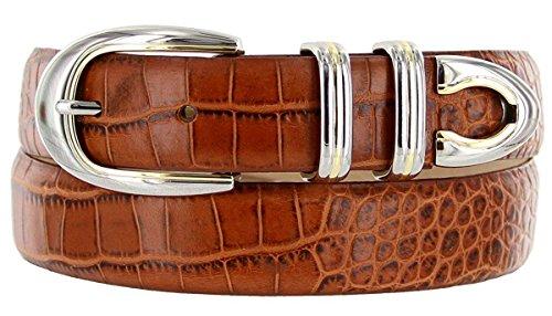 (Hagora Men 30 mm Wide Italian Calfskin Silver & Gold Modern 4 Piece Buckle Belt,Alligator Tan 40)