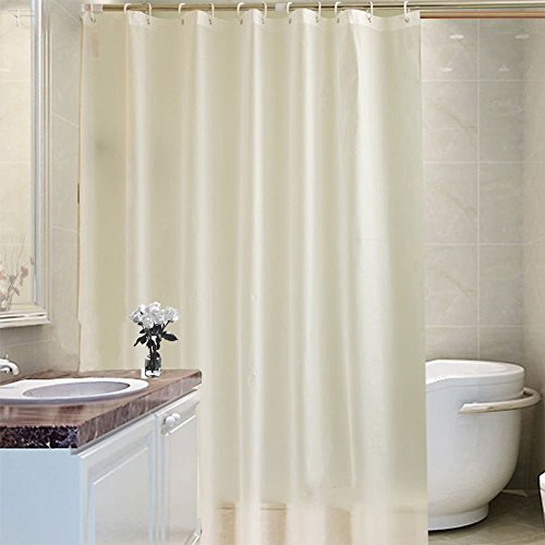 A Tradinf Shower Curtain Liner with Hooks Fabric Mildew Resistant Anti-Bacterial Waterproof Non-Toxic Washable PEVA Eco Friendly & PVC-Free (72x80 inch, White) by A Tradinf