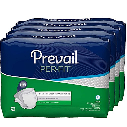 Prevail Per-Fit Maximum Absorbency Incontinence Briefs, Large, 18-Count (Pack of 4)