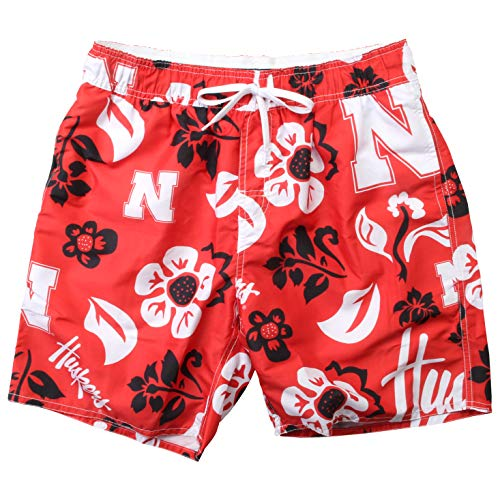 Wes and Willy NCAA Mens Floral Swim Shorts (Large, Nebraska Cornhuskers)