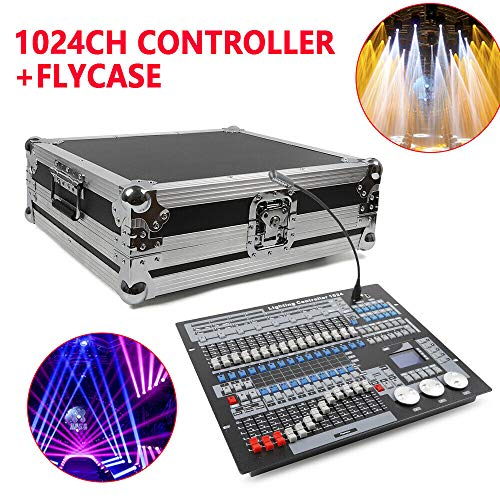 1024 Stage Lighting Controller Us Insert + Flight Case (Us Insert), Channel Stage Light Moving Head Controller Console Carry Case for Party DJ Lighting Mixer Beam LED Lights from LOYALHEARTDY19