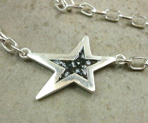 Sterling Silver Anklet- Enamel Star Ankle Bracelet- Celestial Jewelry by PartsbyNC