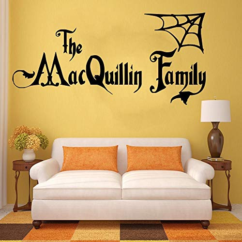 pigeontoeceramics Personalised Halloween Family Name Addams Family Vinyl Wall Art Sticker Decal Mural Home Wall Decor Living Room Decor ()