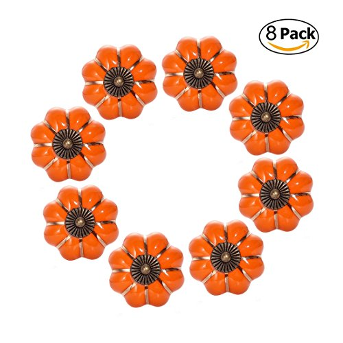 CZC HOME 8PCS Pumpkin Knobs Cabinet Pull Ceramic Handle for Wardrobe Cupboard Dresser (Orange) - Orange Box Furniture
