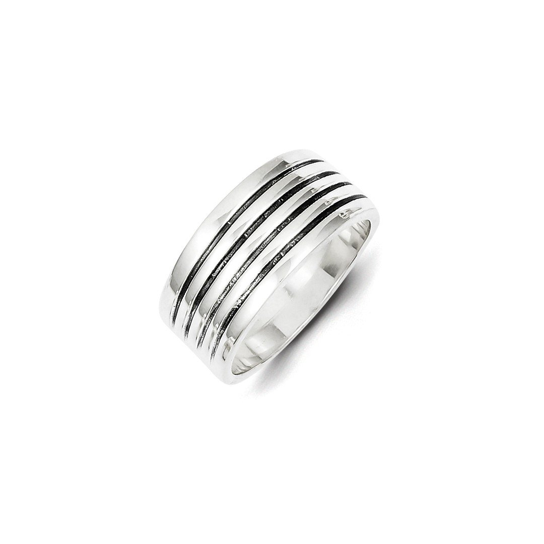 ICE CARATS 925 Sterling Silver Ribbed Band Ring Size 8.00 Fine Jewelry Ideal Gifts For Women Gift Set From Heart