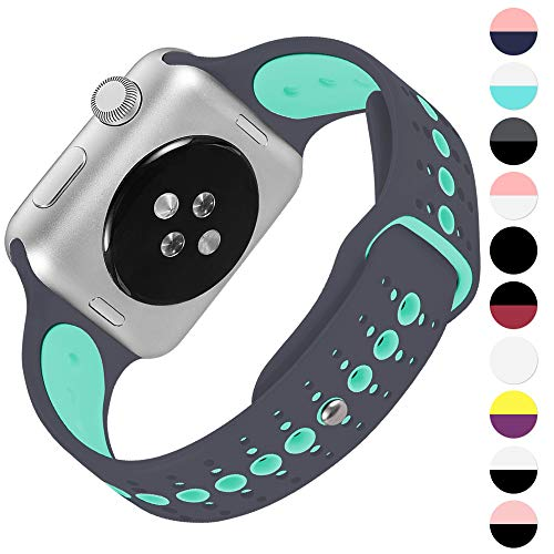 KOLEK Bands Compatible with Apple Watch Series 4/3/2/1, Soft Silicone Sport Replacement Strap Compatible with iWatch 40mm / 44mm / 38mm / 42mm, Multi Colors Available (Green/Gray, 38mm / 40mm)