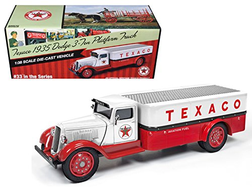 1935 Dodge 3 Ton Platform Truck  Texaco   2016  Series  33 Red And White 1 38 Diecast Model Car By Auto World Cp7410