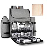 Ferlin Picnic Backpack for 4 With Cooler Compartment, Detachable Bottle/Wine Holder, Fleece Blanket, Plates and Cutlery Set (3066-Gray)