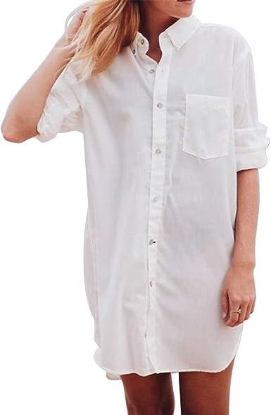 Vestido de Camisa de Playa con Cuello Redondo y Manga Larga para Mujer: Amazon.es: Ropa y accesorios