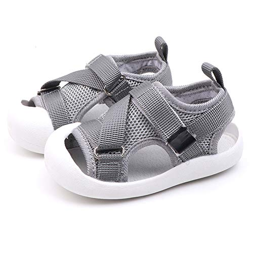 Toddler Boys Girls Summer Sport Sandals Closed Toe Non-Slip Rubber Sole Pool Beach Flyknit Mesh Sneakers Lightweight Outdoor Water Shoes(Grey,15)