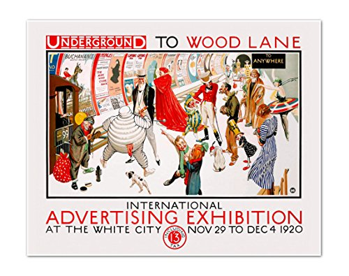 Advertising Poster Print - International Advertising Exhibition 1920 - Underground to Wood Lane - Vintage Marketing Poster