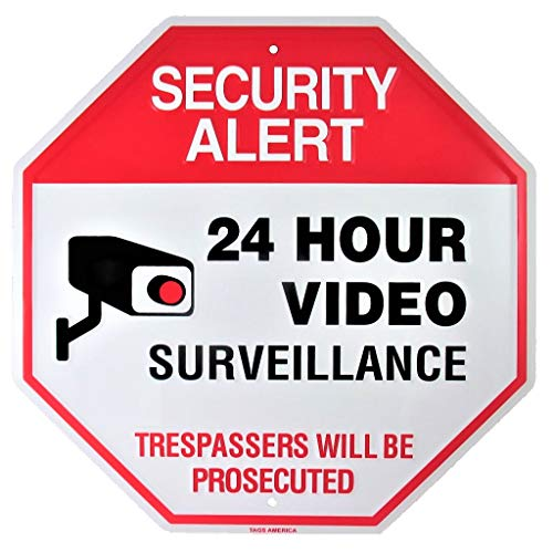 (Video Surveillance Camera Yard Sign, Security Alert 24 Hour CCTV Monitor Warning, Large 11.5 x 11.5 Inch Indoor Outdoor Rust Free Aluminum Metal for Home or Business)