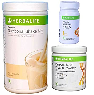Herbalife Weight Loss Diet Program - F1 Vanilla, Afresh Lemon, Nutritional Shake Protein Powder Mix, Natural Organic Meal Replacement Shake Package for Men and Women