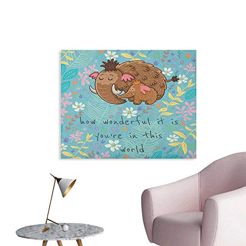 Unprecall Quote Wallpaper Parent and Baby Elephant on a Floral Background with a Loving Mothers Day Slogan Poster Print Multicolor W36 ()