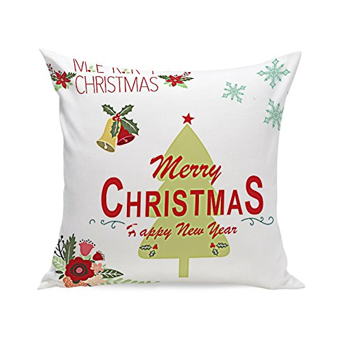 MIARHB Christmas Winter Deer, Merry Chritmas Letter Printed Cotton Linen Home Decorative Throw Pillow Case Cushion Cover for Sofa Couch(18'' x 18'', B)