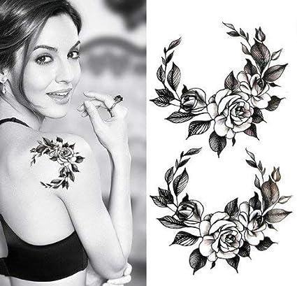 ND tatuaje temporal mujer Tattoo Ephemere adhesivo x 2 flor negro ...