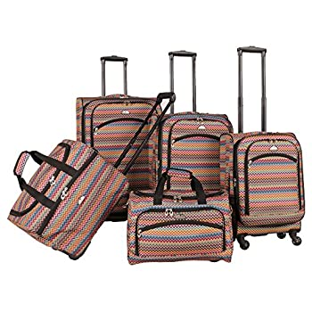 Image of American Flyer Gold Coast 5-Piece Spinner Luggage Set, Pink, One Size