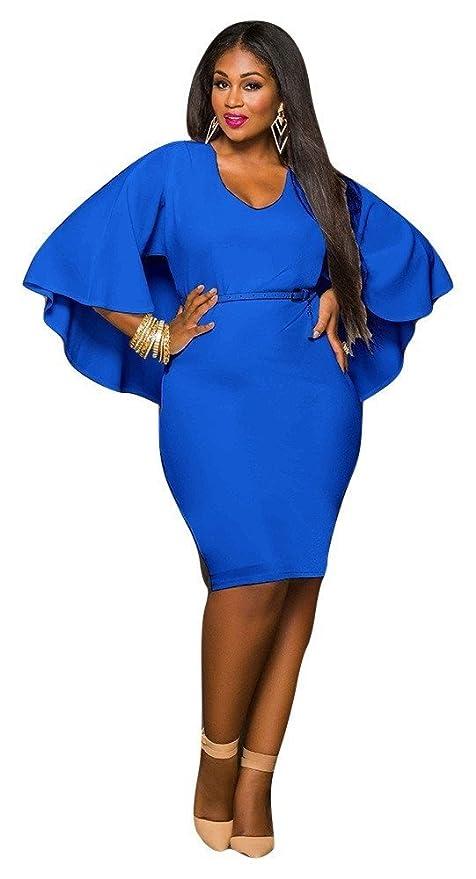 Nueva mujer Plus Size azul capa Bodycon vestido oficina vestido casual noche fiesta wear plus size