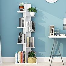 Giantex Multipurpose Storage Shelf Space-Saving Bookshelf Bookcase Wood Display Shelf Stand for Books Photos Artwork Flower Vases Pot Plant Storage Holder Rack w/ 8 Open Well-Arranged Shelves, White
