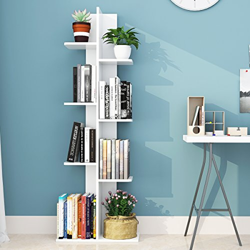 Giantex Open Concept Bookcase Flower Pot Display Shelf Rack Wooden Storage Holder (White)