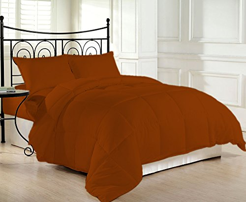 COMFORTER Down Alternative 200 GSM Microfiber Fill Light Weight 1200 Thread Count 1 Piece Hypoallergenic 100% Egyptian Cotton Solid by BED ALTER (Brick Red, Full)