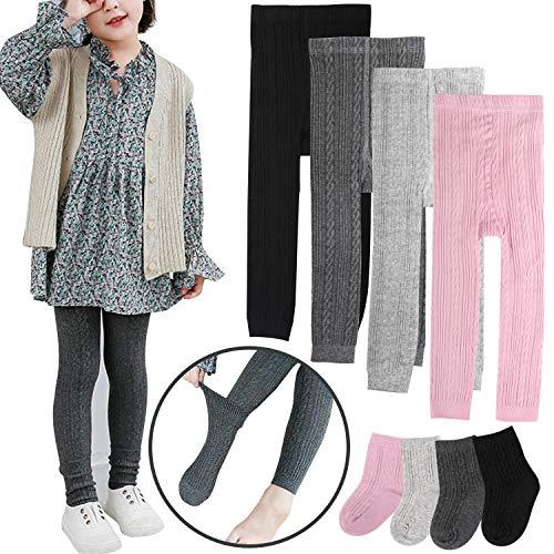 BOOPH Girls Leggings Pants Baby Toddler Footless Knits Tights Stockings - 4 Legging Pants + 4 Pairs Socks 5-6 Year