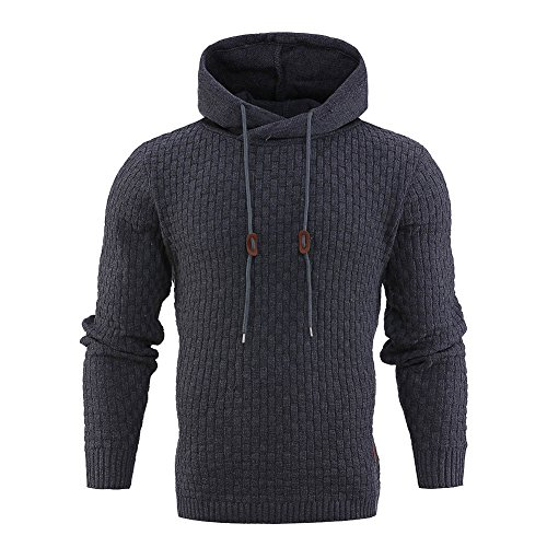 Bocaoying Men's Cable Knitted Hooded Sweatshirt Drawstring Knits Jumper Hoodie Grey XL (Sweater Hooded Cable Knit)