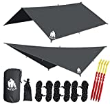 Chill Gorilla 10' hammock rain fly tent tarp waterproof camping shelter. Lightweight ripstop nylon & not cheap polyester. Stakes included. Survival gear. Backpacking camping ENO accessory. Grey