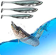 OYLZG Fishing Lures Bait Soft Plastic Paddle Tail Shaw 6 PCS 3.15 inch-1/10 oz 3.94 inch-1/5 oz 4.72 inch-7/20