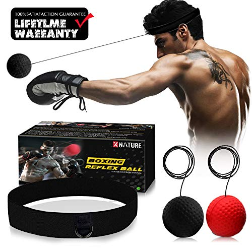 Xnature Boxing Reflex Ball Gear,2 Colors Boxing Ball with Headband, Perfect for Reaction, Boxing Training, Punching Speed, Fight Skill and Hand Eye Coordination Training (W/Gift Box) (Black/Red) (Punching Gear)