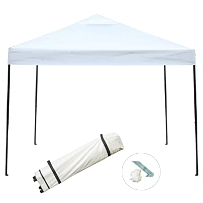 Sunnyglade 10'x10' Pop-up Canopy Tent Commercial Instant Tents Market Stall Portable Shade Instant Folding Canopy with Roller Bag (Beige) : Garden & Outdoor
