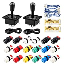 Gamelec 2-Player Arcade HAPP Colored Buttons Joystick Kit Upgrade Version Joysticks Push Buttons on PC Raspberry Pi Retro Pie Video Games MAME Jamma Games