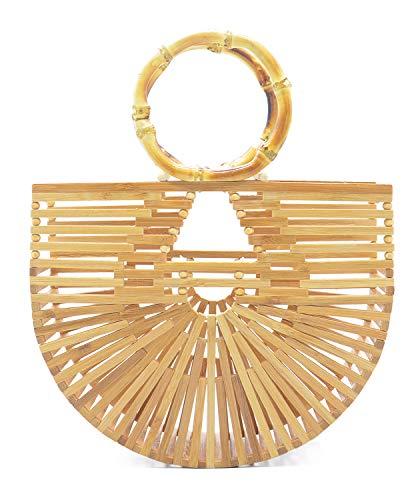 Miuco Womens Bamboo Handbags Handmade Purses Tote Bag Small