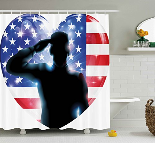 4th of July Decor Shower Curtain by Ambesonne, Funny French Bulldog with Sunglasses in American Costume Hiding Graphic Art, Fabric Bathroom Decor Set with Hooks, 84 Inches Extra Long, Multi