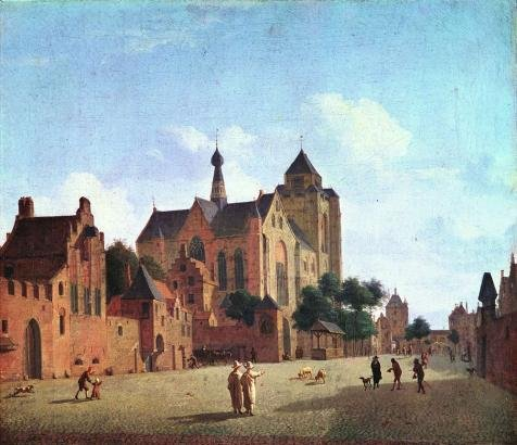 'Jan Van Der Heyden,The Church In Veere,1660-1672' Oil Painting, 30x35 Inch / 76x88 Cm ,printed On High Quality Polyster Canvas ,this Replica Art DecorativeCanvas Prints Is Perfectly Suitalbe For Nursery Decor And Home Gallery Art And Gifts
