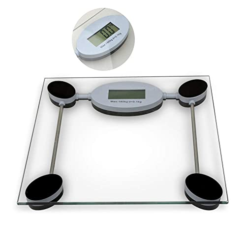 Digital Bathroom Scales High Precision Electronic Body Weight Scales with Step-On Technology, Tempered Glass, LCD Display, 180 KG/28 ST/400 LB