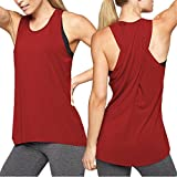 Shirts for Women Clearance Yoga Tops Activewear Workout Clothes Sports Racerback Tank Tops for Women On Sale (M, Wine Red)