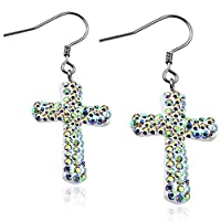 Stainless Steel Shamballa Cross Long Drop Hook Earrings w/ Aurore Boreale CZ (pair) - EEZ078