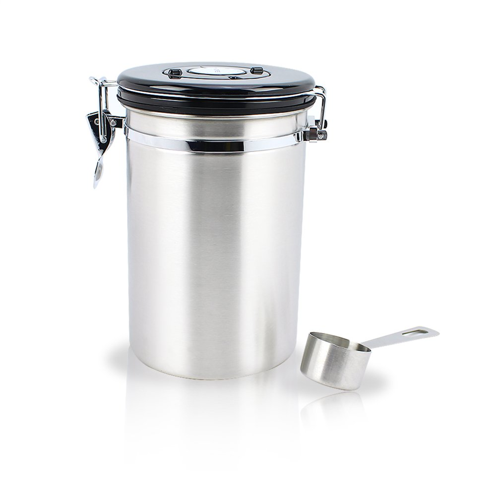 Harvest Grande Coffee Airtight Canister with stainless steel scoop-Airtight Container Preserves Food Freshness With date setting Arylic Lid and Locking Clamp (11oz) … (11oz)