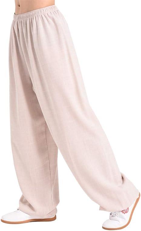 XLYAN Hombre Primavera Y Verano Pantalones Tai Chi Holgados Pilates Danza Yoga Algodón Y Lino Pantalones Yoga por La Mañana: Amazon.es: Deportes y aire libre
