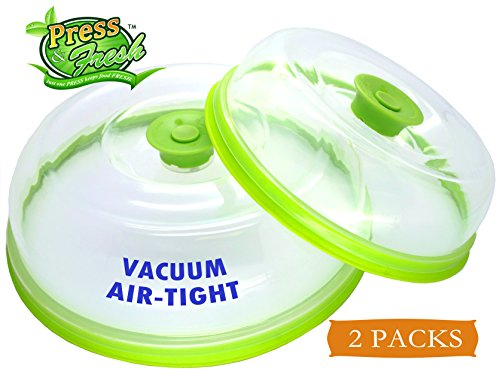 Press n Fresh Universal Vacuum Air-tight Food Sealer Container Plate Platter Lid Cover Topper Dome, Stackable, Safe for Microwave, Dishwasher and BPA Free (9 & 7 inches, (Universal Sealer)