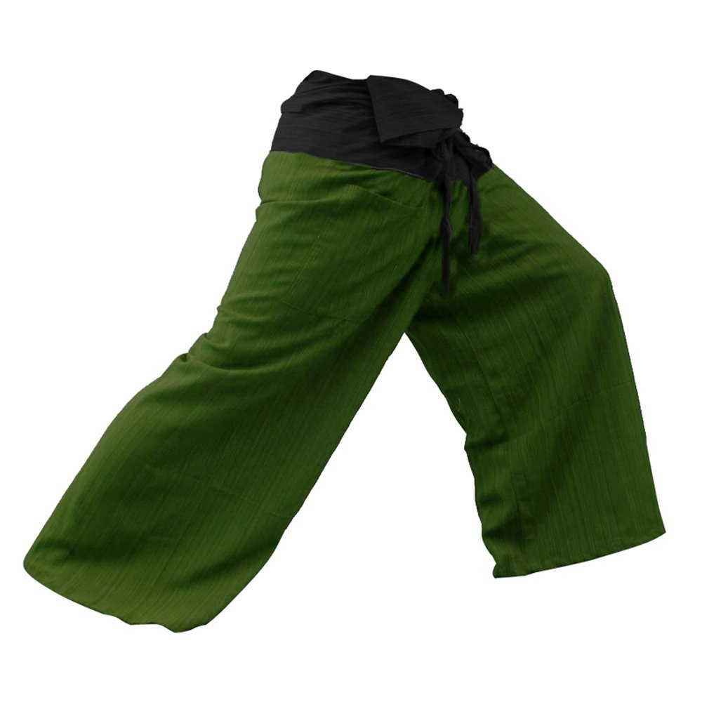 """THAICOMPLEX"" 2 TONE Thai Fisherman Pants Yoga Trousers FREE SIZE Plus Size Cotton Sumalee"