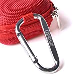 Case Star ® Rectangle-Shaped Hard EVA Case Bag and Silver Color Climbing Carabiner for Plantronics Voyager Legend Wireless Bluetooth Headset, MP3/MP4 Earbuds iPod Shuffle with Mesh Pocket, Zipper Enclosure, and Durable Exterior with Case Star Cost-free Velvet Cell Phone Bag (Rectangular Case - Red)