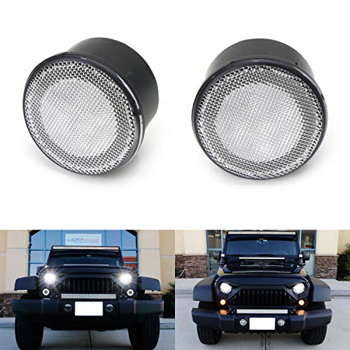 (iJDMTOY (2) Clear Lens LED DRL Turn Signal Assembly For 07-17 Jeep Wrangler (White LED Halo Ring as Daytime Running Lights & Amber LED Center Light as Turn Signals))